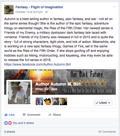 The booth of author Autumn M. Birt for the Facebook event Apocalyptic Day Virtual Fantasy Con