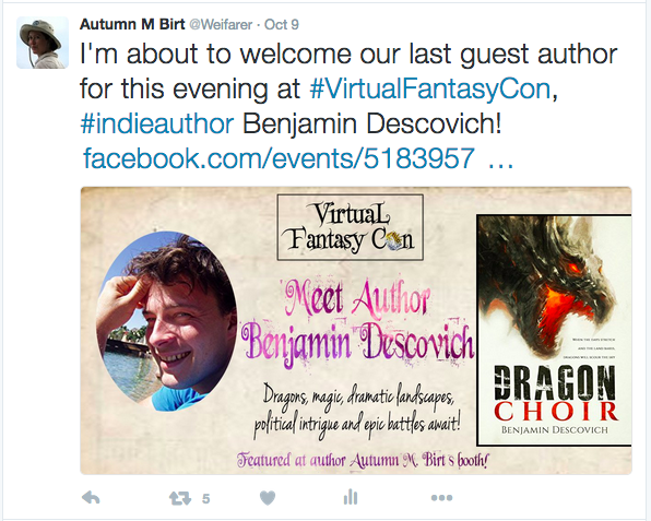 Guest Author Tweet from Virtual Fantasy Con Facebook event